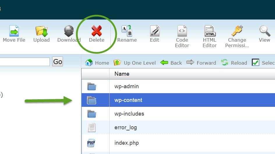 delete-wp-content-folder
