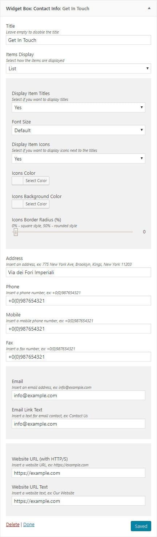 Contact Info Widget